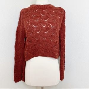 Moon & Madison Rust Red Open Knit Sweater Cropped